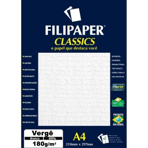 Papel A4 Verge Branco Classics 180G. Filiperson