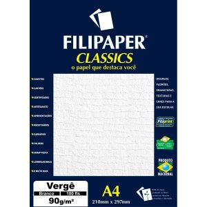 Papel A4 Verge Branco Classics 90G. Filiperson