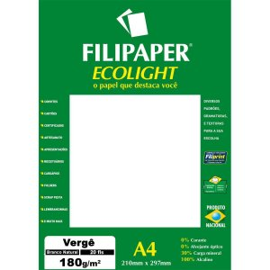 Papel A4 Verge Branco Ecolight 180G. Filiperson