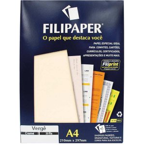 Papel A4 Verge Creme 120G. Filiperson
