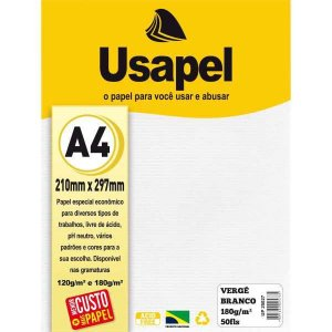 Papel A4 Verge Usapel Branco 180G. Filiperson