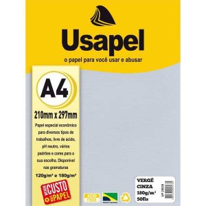 Papel A4 Verge Usapel Cinza 180G. Filiperson