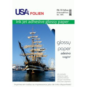 Papel Fotografico Inkjet A4 Glossy Adesivo 120G Usa Folien