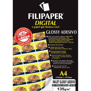 Papel Fotografico Inkjet A4 Glossy Adesivo 135G Filiperson