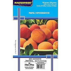Papel Fotografico Inkjet A4 Glossy Dupla Face 180G Masterprint