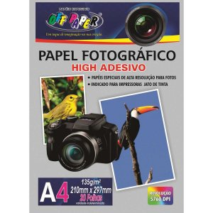 Papel Fotografico Inkjet A4 High Adesivo 135G Off Paper