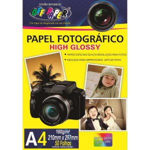 Papel Fotografico Inkjet A4 High Glossy 180G Off Paper