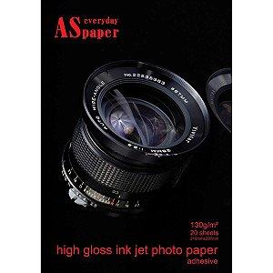 Papel Fotografico Inkjet A4 High Glossy Adesivo 130G Usa Folien