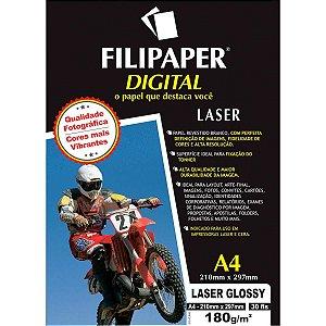 Papel Fotografico Laser A4 Glossy Profissional 180G Filiperson