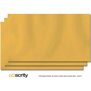 Papel Kraft Folha 80X120Cm 80G Ouro Scrity