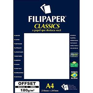 Papel Para Impressao Offset A4 Branco 180Gr. Filiperson