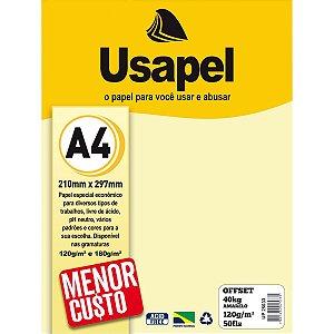 Papel Sulfite A4 Colorido Offset 120G 40K Amarelo 50Fls Filiperson