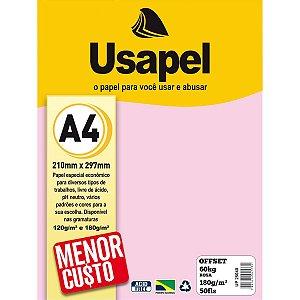 Papel Sulfite A4 Colorido Offset 180G 60K Rosa 50Fls Filiperson