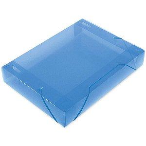 Pasta Aba Elastica Plastica Oficio 55Mm Azul Soft Polibras