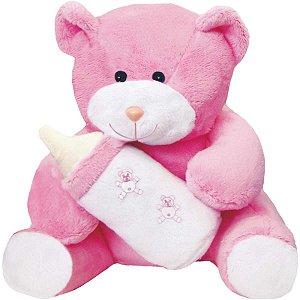 Pelucia Ursinha C/mamadeira Rosa 25Cm. Soft Toys