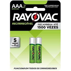 Pilha Recarregavel Palito Aaa 600Mah Eco Ray Rayovac