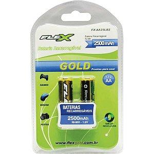 Pilha Recarregavel Pequena Aa Flex Gold 2500Mah Flex