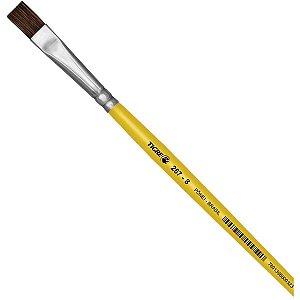 Pincel Escolar Chato 267 N.08 Amarelo Pinceis Tigre