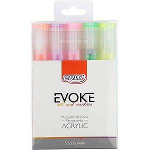 Pincel Marcador Artesanato Evoke Acrilico 5 Cores Neon Brw