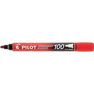 Pincel Marcador Permanente Sca 100 Ponta Redonda Vermelho Pilot