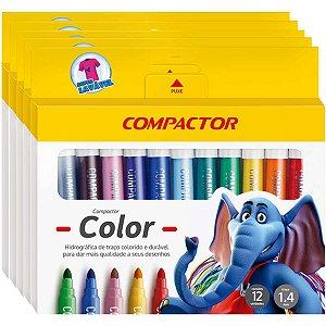 Pincel Marcador Compactor Color C/12 Cores Compactor
