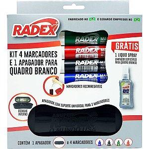 Pincel Quadro Branco 4 Marcadores+1 Apagador+Spray Radex