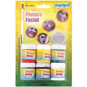 Pintura Facial Liquida + Pincel 6Cores 15Ml C Maripel