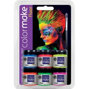 Pintura Facial Liquido Color Make 6Cores Fluo Colormake