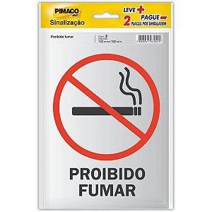 Placa De Sinalizacao Probido Fumar 14Cmx19Cm Pimaco