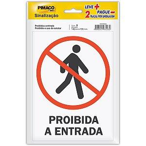 Placa De Sinalizacao Proib Entr./proib Cel. 14X19Cm Pimaco