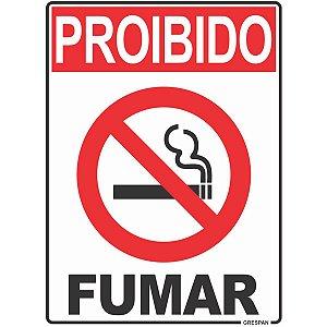 Placa De Sinalizacao Proibido Fumar 15X20Cm. Grespan