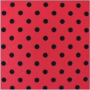 Placa Em Eva Estampado 60X40Cm Poa Preto/vermelho 2Mm Make+