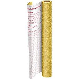 Plastico Adesivo 45Cmx10M Gliter Dourado Pp 0,10 Dac