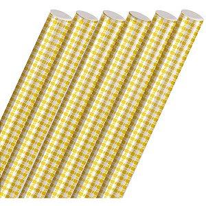 Plastico Para Encapar 2M Xadrez Amarelo 45Cm. Cromus