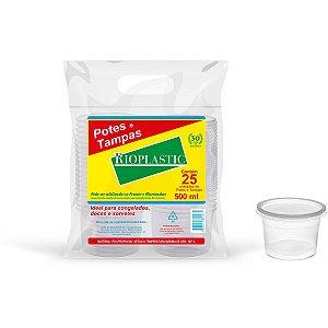 Pote Descartavel 500Ml.redondo C/tampa Rioplastic