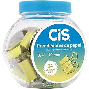 Prendedor De Papel Cis-115119 Binder 19Mm Ouro Sertic