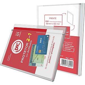 Protetor Para Documentos Cnh+Cartao Acrilico Cristal Dac
