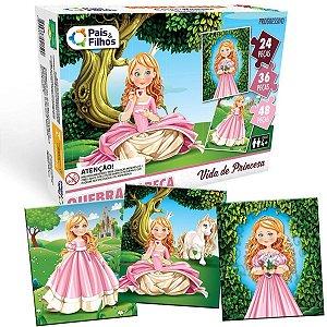 Quebra-Cabeca Cartonado Princesas Progressivo 24/36/48 Pais E Filhos