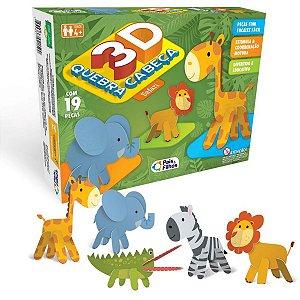 Quebra-Cabeca Cartonado Safari 3D 19 Pcs Pais E Filhos