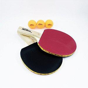Raquete Para Ping Pong Conj. 2Raquetes+3Bolas Belfix