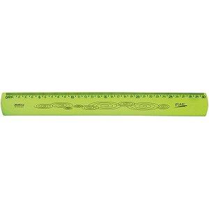 Regua Mole Neon Flexivel 30Cm. Amarela Waleu