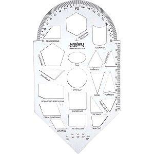Regua Plastica Geometria Gabarito Cristal Waleu