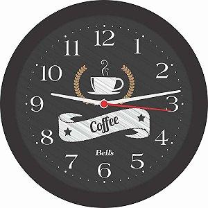 Relogio De Parede Redondo Coffee Preto 21,7Cm. Bells