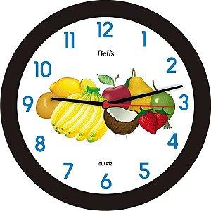 Relogio De Parede Redondo Frutas Preto 21,7Cm. Bell´s
