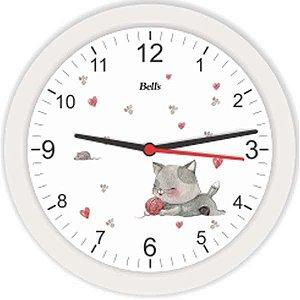 Relogio De Parede Redondo Gatinho Branco 21,7Cm. Bells