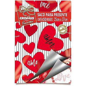 Saco Metalizado 25X37Cm Romantico Sortido Cromus
