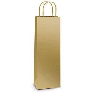 Sacola Para Presente Decorada P/garrafa Lamin.ouro 35X13X8Cm Packpel