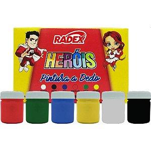 Tinta Pintura A Dedo 06 Cores 15Ml. Radex