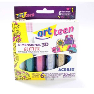 Tinta Relevo Gliter Dimens. 06 Cores 20Ml Acrilex
