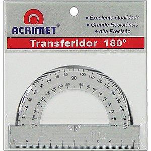 Transferidor Poliestireno 180 Graus Cristal Acrimet